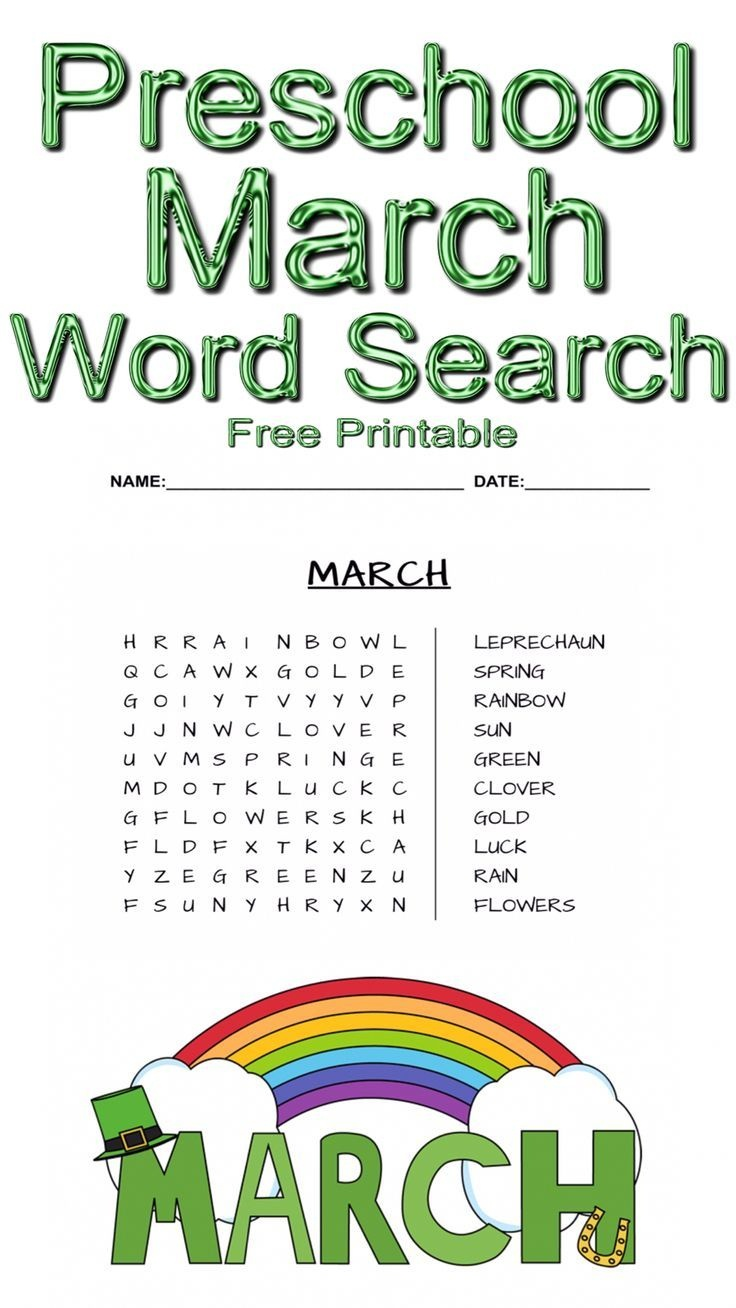 Preschool March Word Search ~ Free Printable | Free Printables - Free Printable March Activities