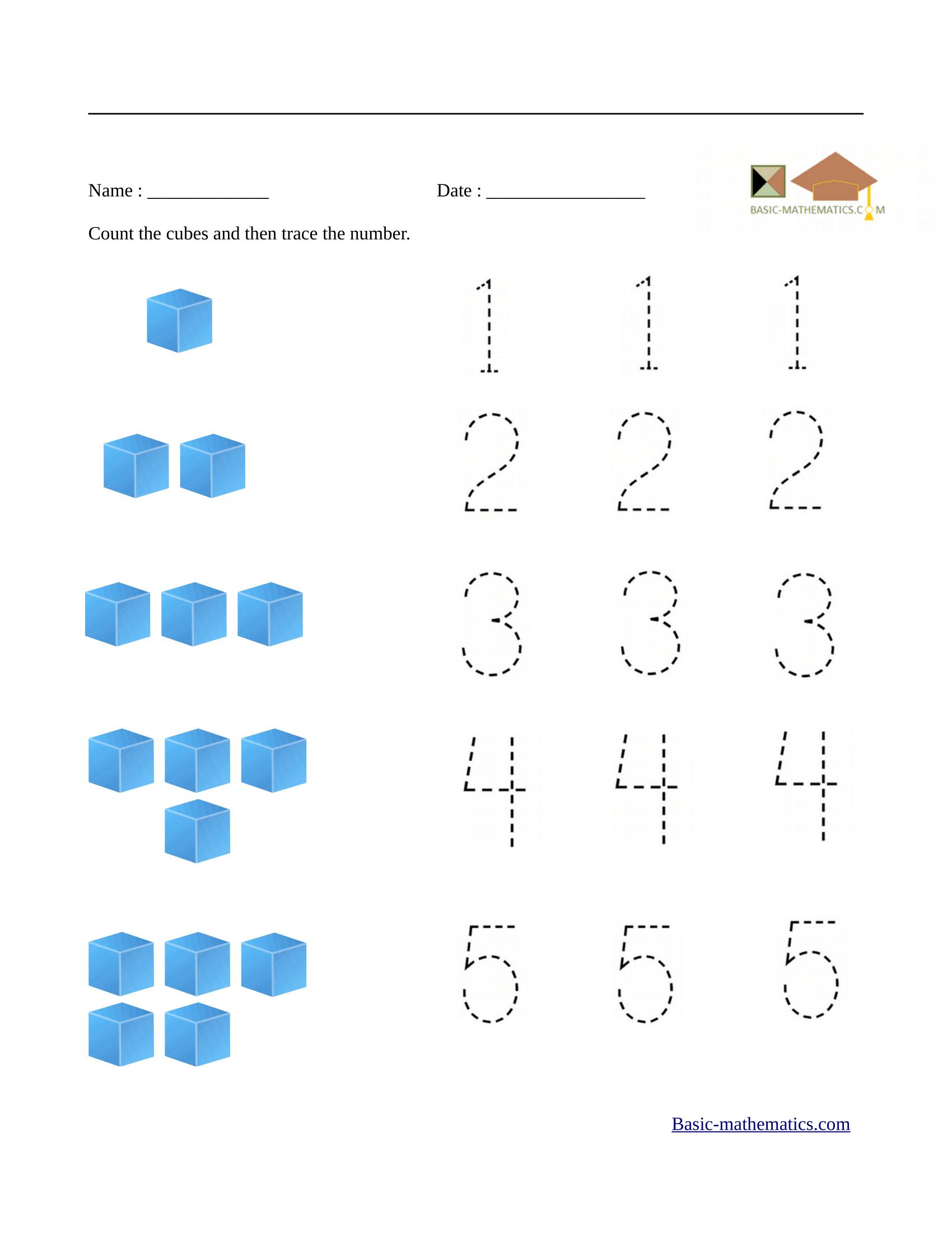Preschool Math Worksheets - Free Printable Math Worksheets For Kids