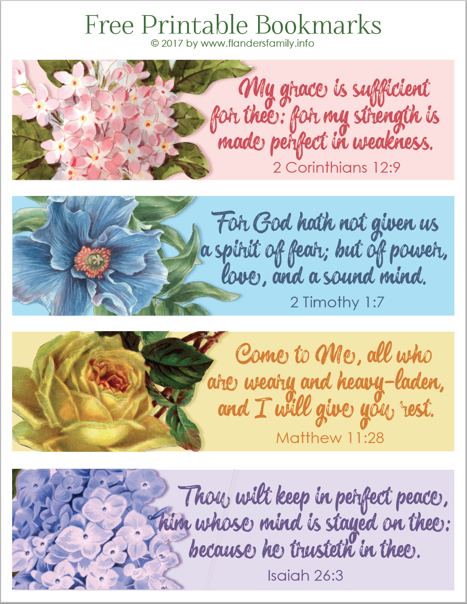 Pretty Printable Scripture Bookmarks - Flanders Family Homelife - Free Scripture Printables