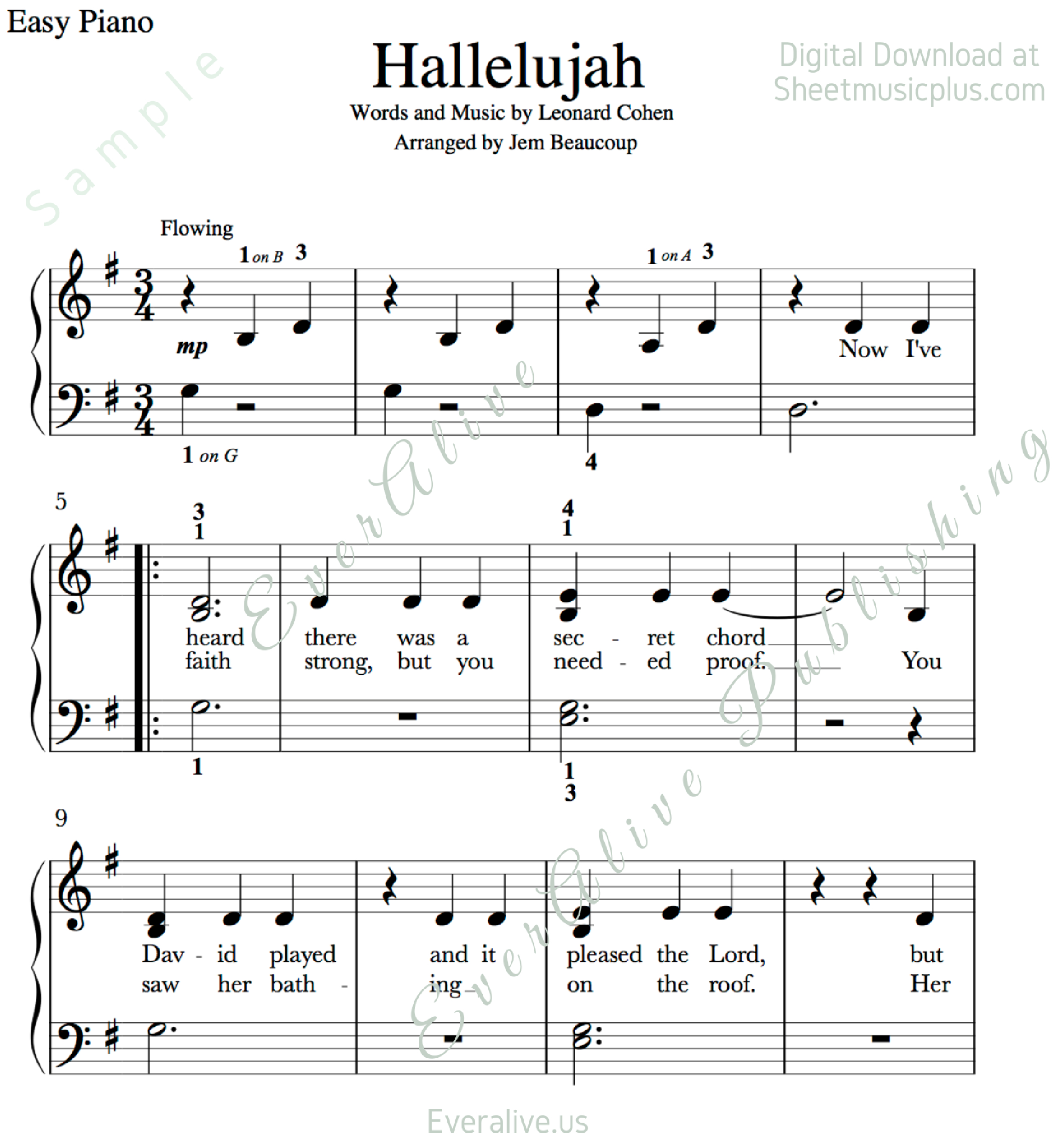Print And Download. Hallelujah Easy Piano Music. Leonard Cohen - Hallelujah Easy Piano Sheet Music Free Printable