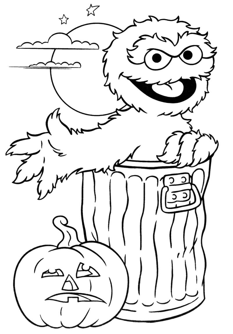 Print Oscar Sesame Street Halloween Coloring Pages Or Download Oscar - Free Online Printable Halloween Coloring Pages