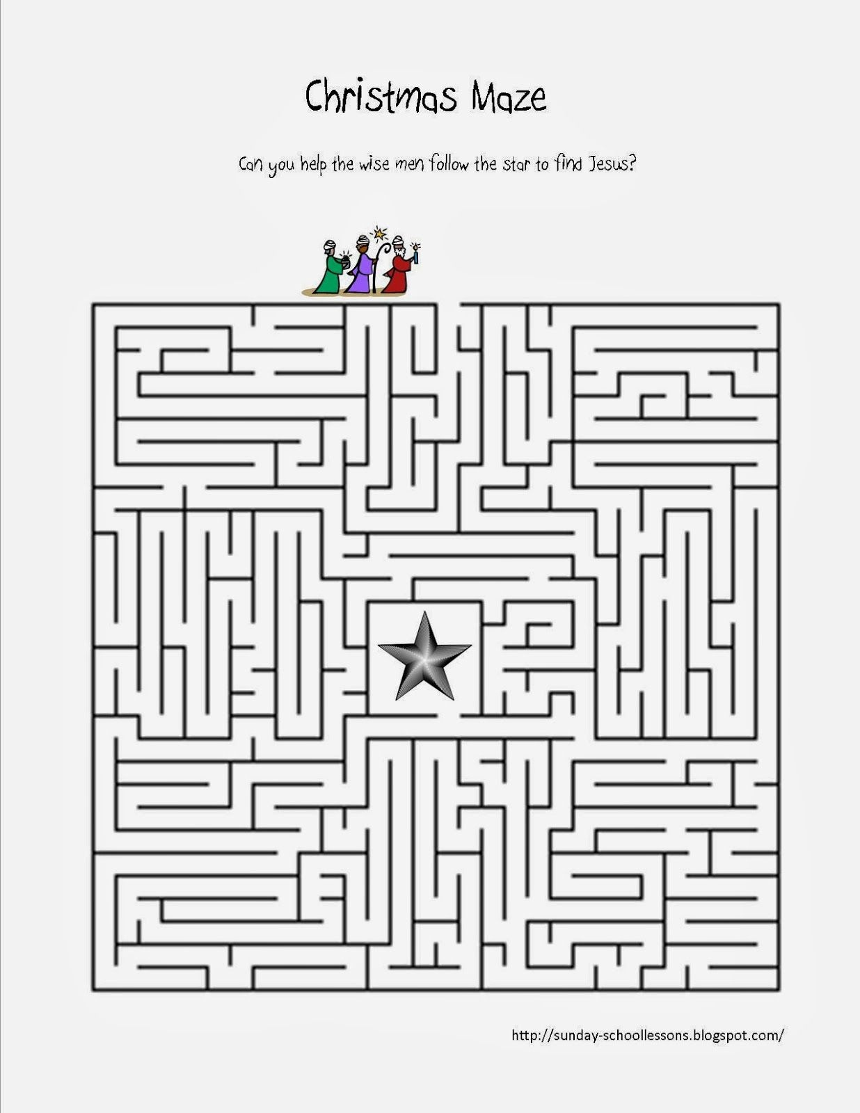 Print This Free Christmas Maze About Following The Star To Find - Free Sunday School Printables