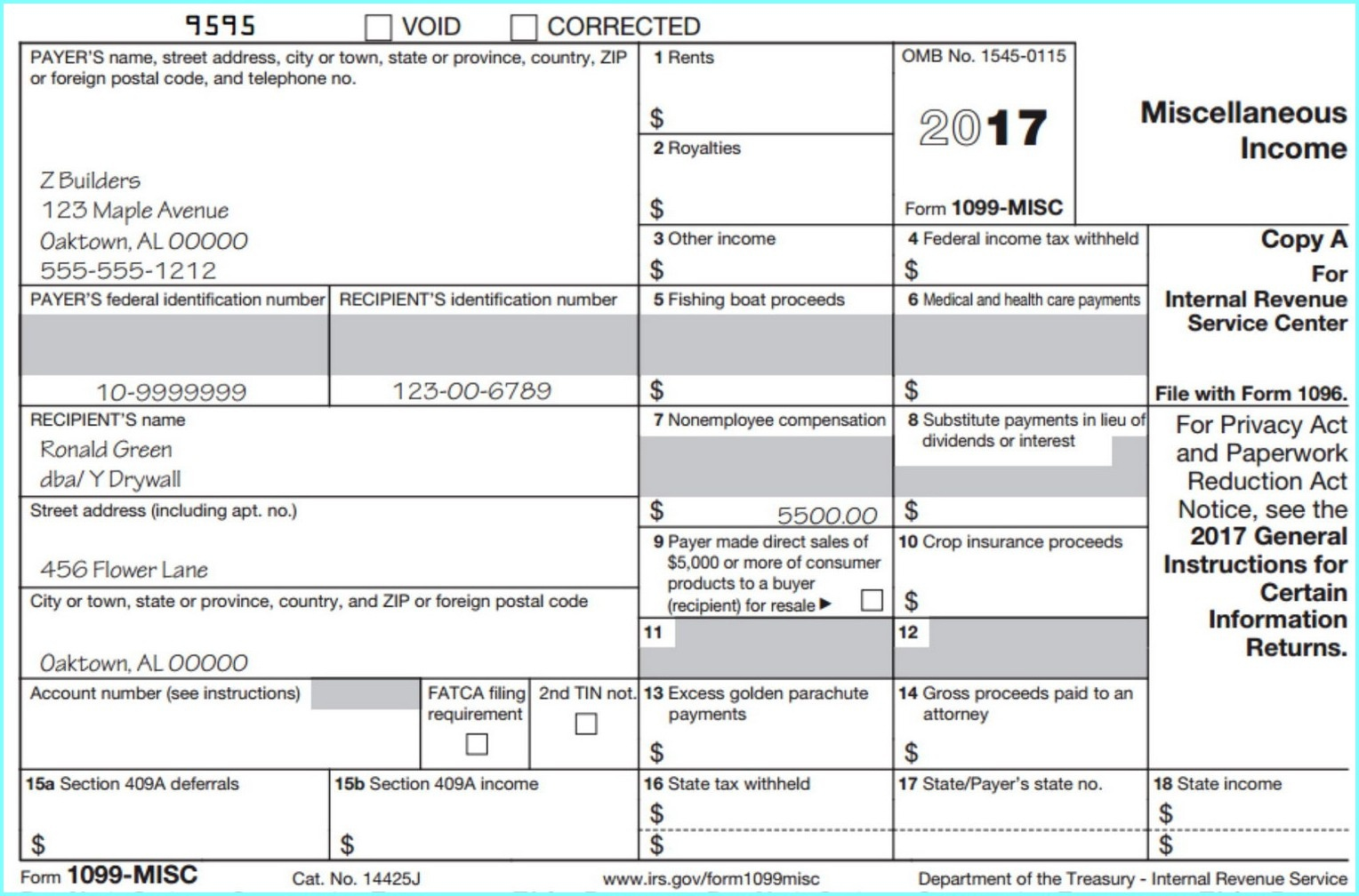 Printable 1099 Form 2017 Misc - Form : Resume Examples #djqlelg4Kw - Free Printable 1099 Form 2017
