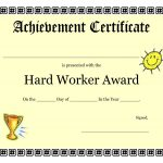 Printable Achievement Certificates Kids | Hard Worker Achievement   Free Printable Award Certificates For Elementary Students