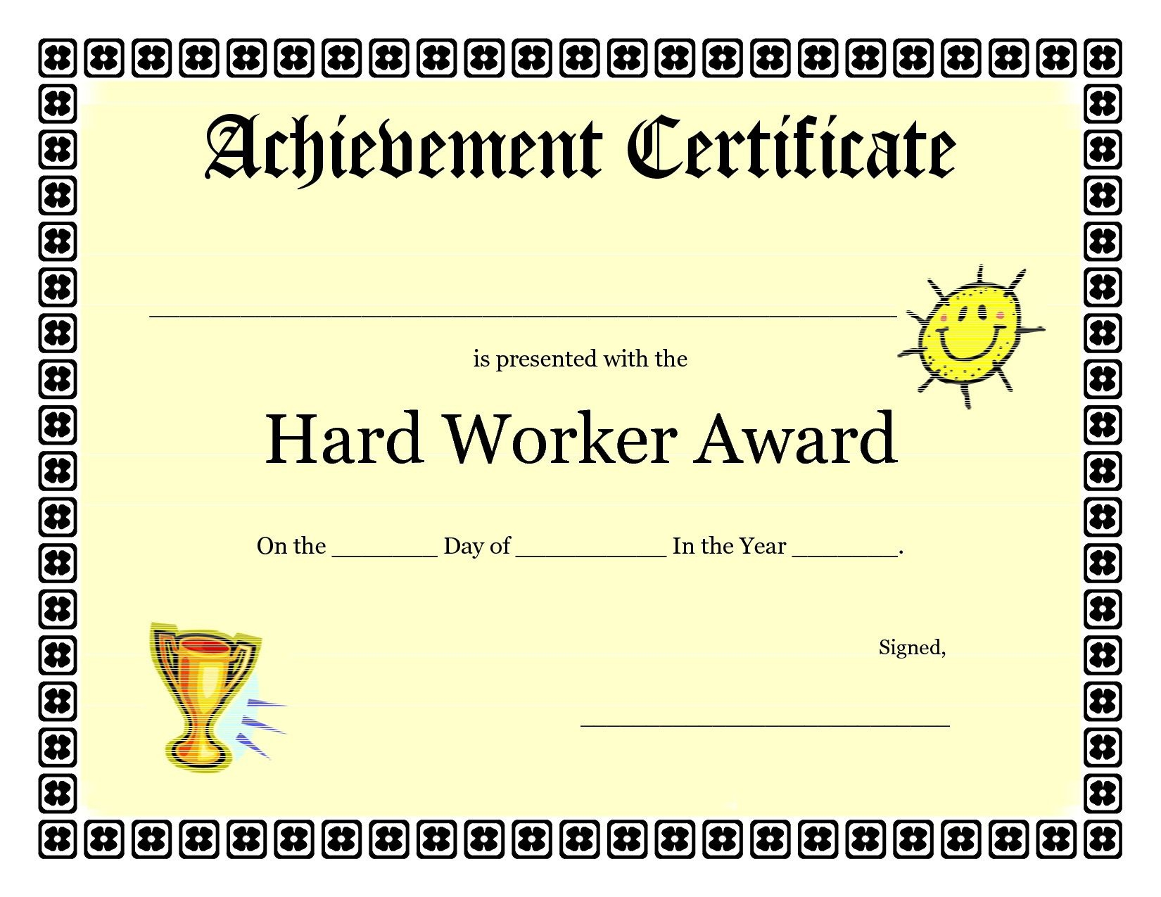 Printable Achievement Certificates Kids | Hard Worker Achievement - Free Printable Award Certificates For Elementary Students