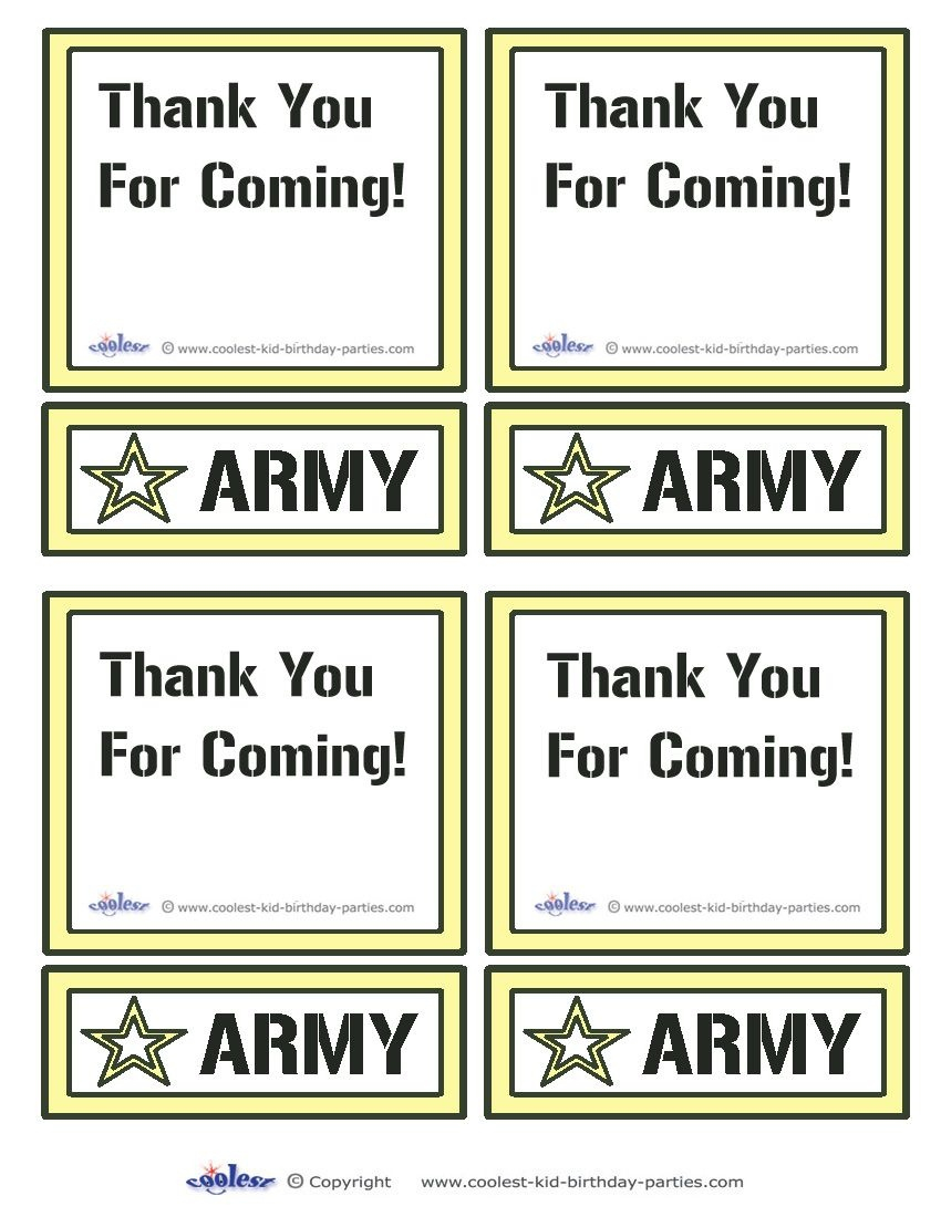 Printable Army Star Thank You Cards Coolest Free Printables | Boys - Free Printable Camouflage Birthday Cards