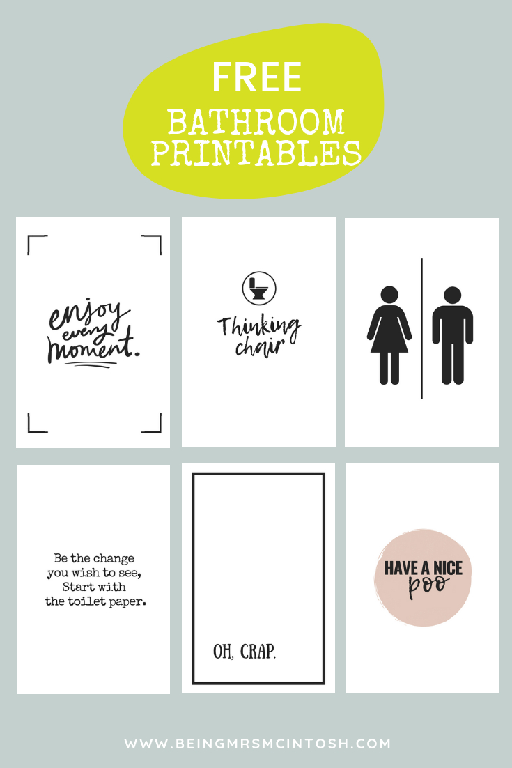 Printable Bathroom Signs | Being Mrs Mcintosh - Free Printable Bathroom Signs