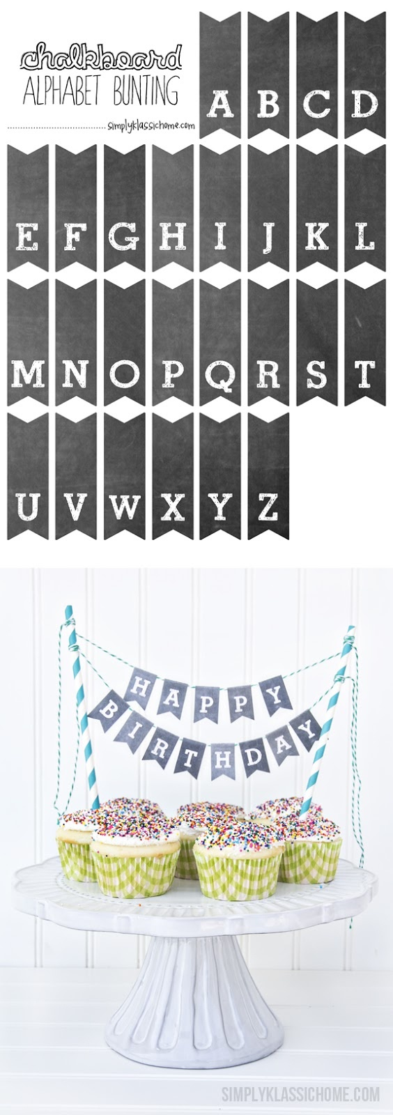 Printable Chalkboard Letters Cake Bunting - Yellow Bliss Road - Free Printable Cake Banner Templates