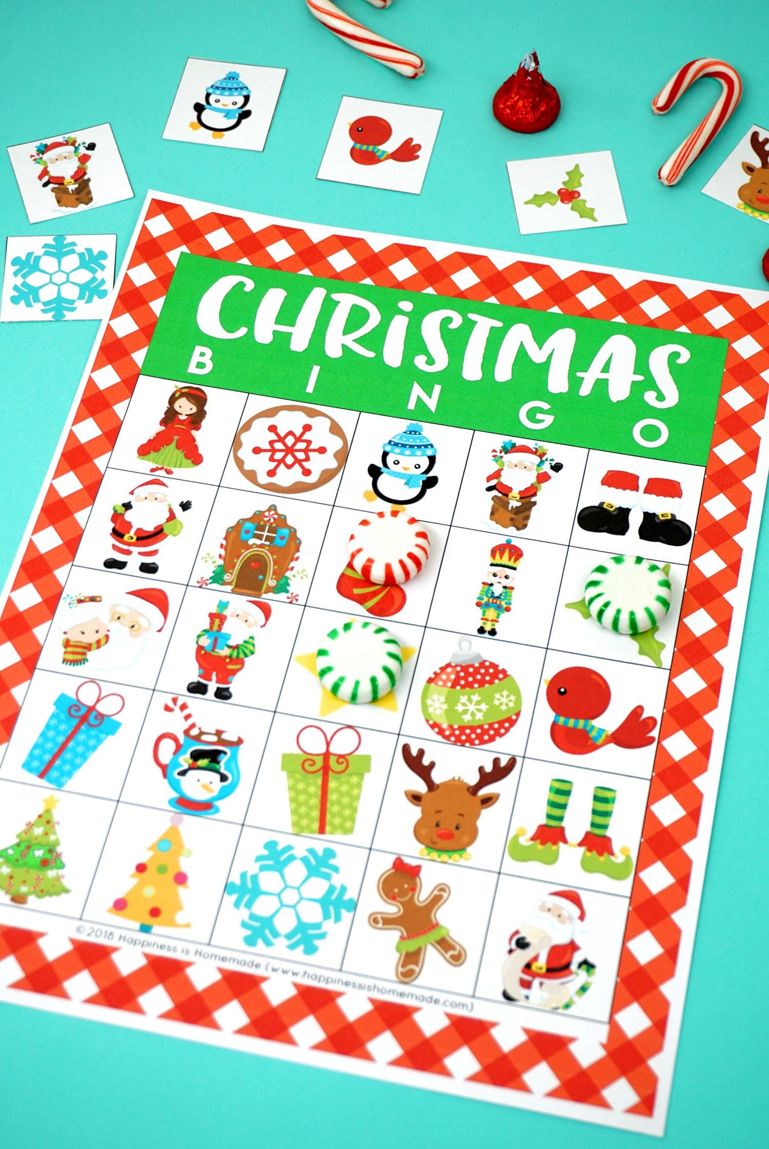 Printable Christmas Bingo Game - Happiness Is Homemade - 20 Free Printable Christmas Bingo Cards