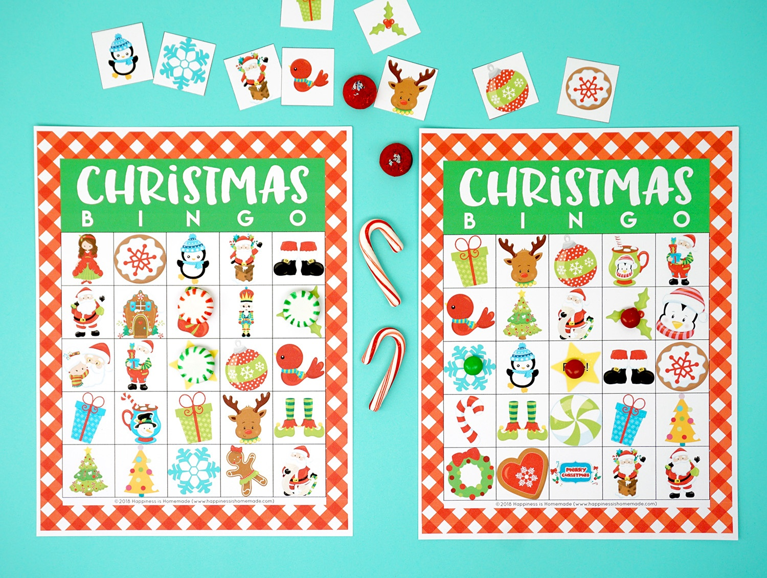 Printable Christmas Bingo Game - Happiness Is Homemade - 20 Free Printable Christmas Bingo Cards