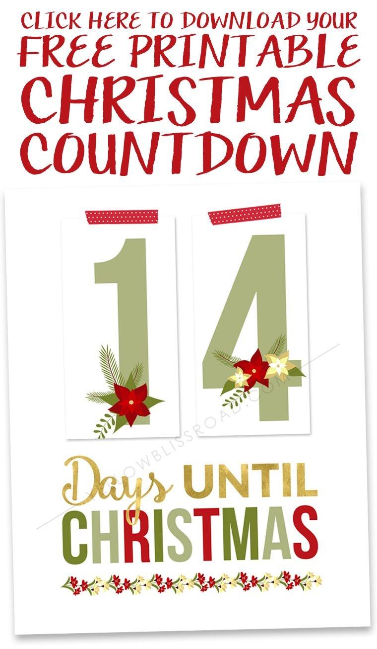 Printable Christmas Countdown | *christmas* | Christmas Countdown - Christmas Countdown Free Printable