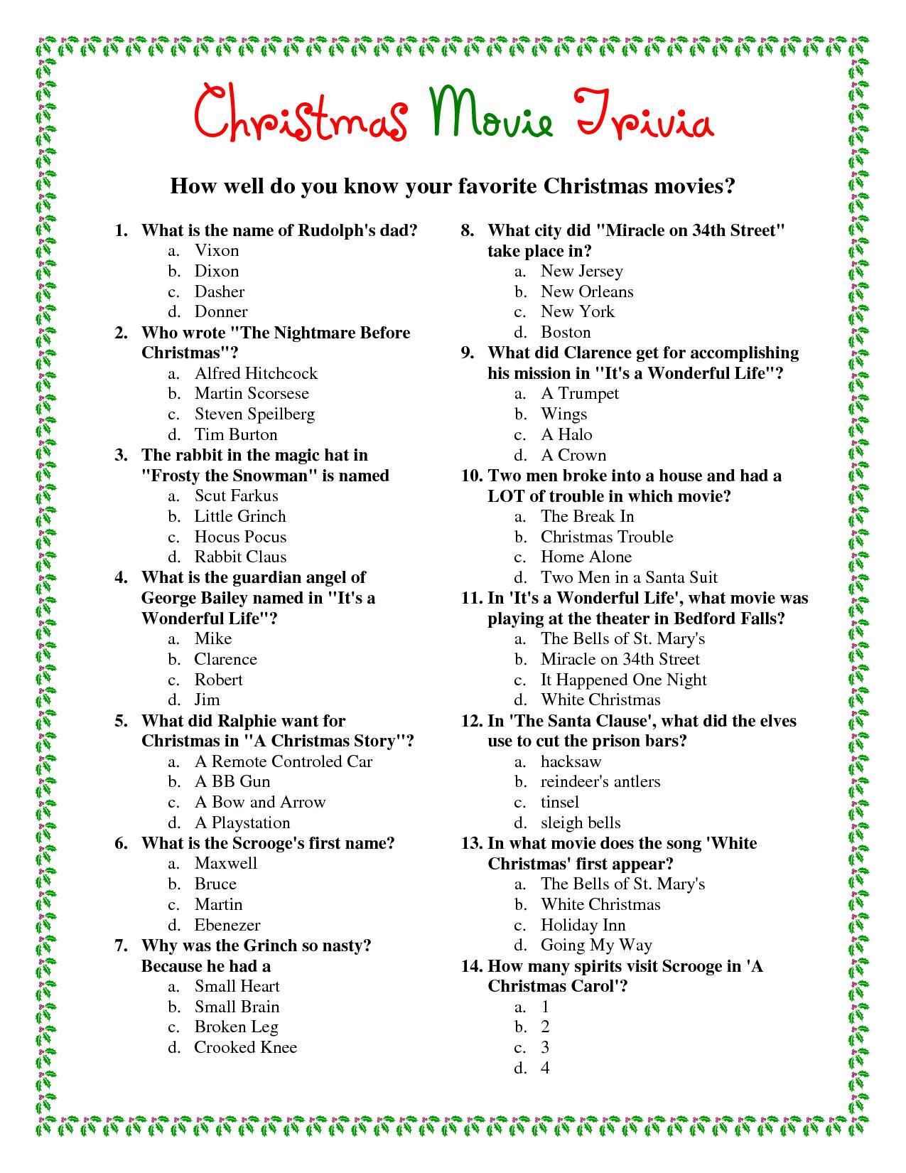 Printable Christmas Movie Trivia.pdf Download Legal Documents - Free Printable Christmas Song Quiz