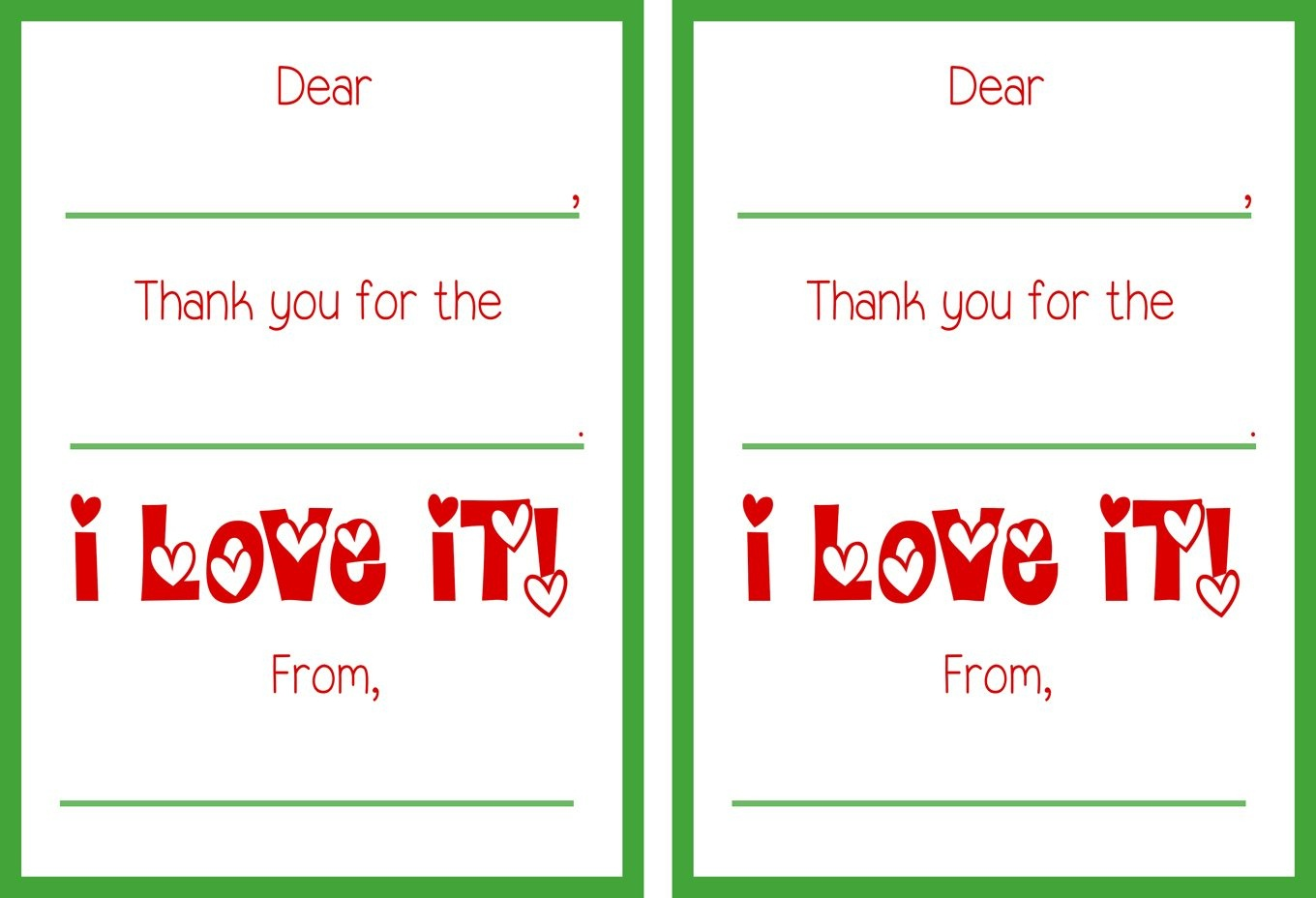 Printable Christmas Thank You Cards - Christmas Thank You Cards Printable Free