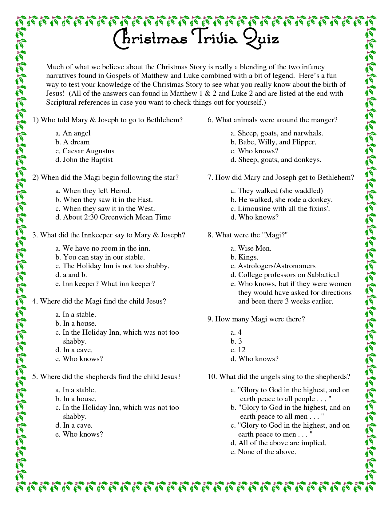 Printable Christmas Trivia Questions And Answers | Christmas Party - Free Christmas Picture Quiz Questions And Answers Printable