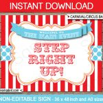 Printable Circus Backdrop Sign | Carnival Party Decorations   Free Printable Carnival Decorations