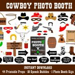 Printable Cowboy Photo Booth Props–Photo Booth Sign Wild West Photo   Free Printable Western Photo Props
