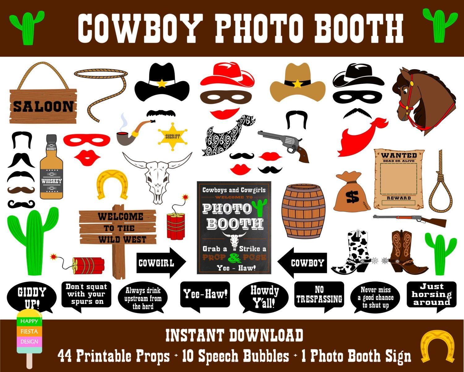 Printable Cowboy Photo Booth Props–Photo Booth Sign-Wild West Photo - Free Printable Western Photo Props