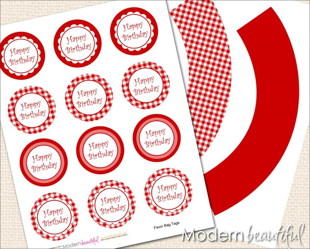 Printable Cupcake Toppers And Wrappers Red Gingham Party On Luulla - Free Printable Minecraft Cupcake Toppers And Wrappers