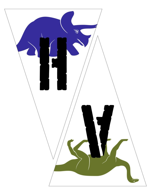 Printable Dinosaur Happy Birthday Bunting / Pennant Banner | Dino - Free Printable Dinosaur Birthday Banner