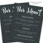 Printable Diy Bar Menu Template | ♥ Diy | How To | Tutorials   Free Printable Drink Menu Template