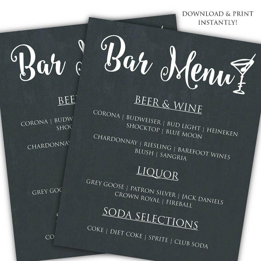 Printable Diy Bar Menu Template | ♥ Diy | How To | Tutorials - Free Printable Drink Menu Template