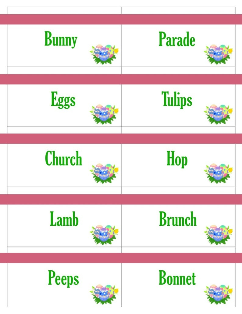 Printable Easter Game Cards For Pictionary Charades Hangman | Etsy - Free Printable Pictionary Cards