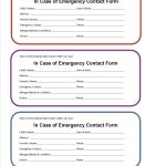 Printable Emergency Contact Form For Car Seat | Class Room Projects   Free Printable Contact Forms