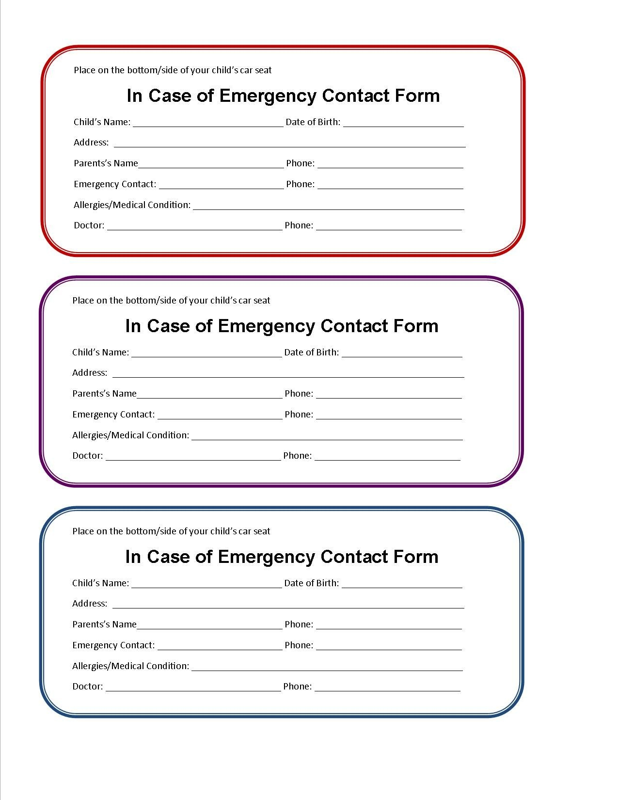 Printable Emergency Contact Form For Car Seat | Class Room Projects - Free Printable Contact Forms