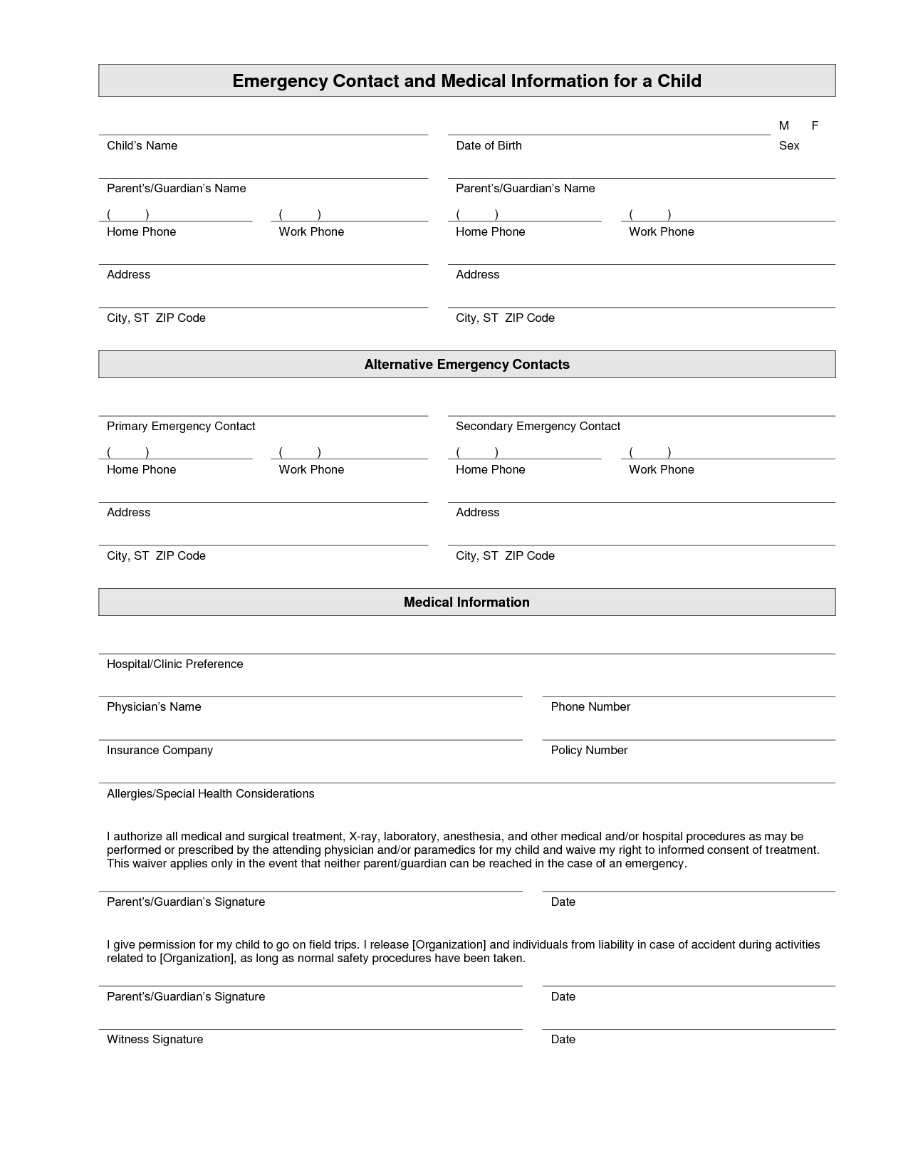 Printable Emergency Contact Form Template | Home Daycare | Emergency - Free Printable Emergency Medical Card