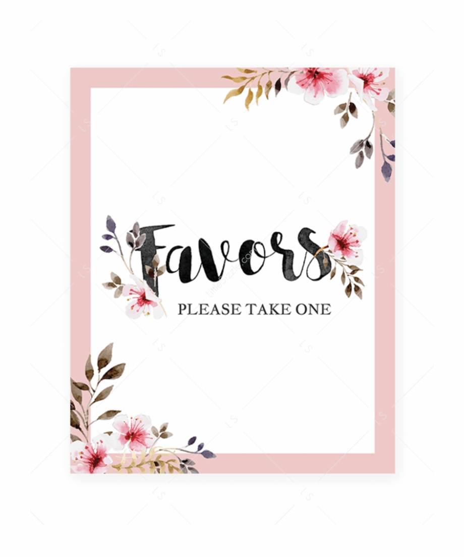 Printable Favors Sign With Blush Pink Flowerslittlesizzle - Baby - Free Printable Diaper Raffle Sign