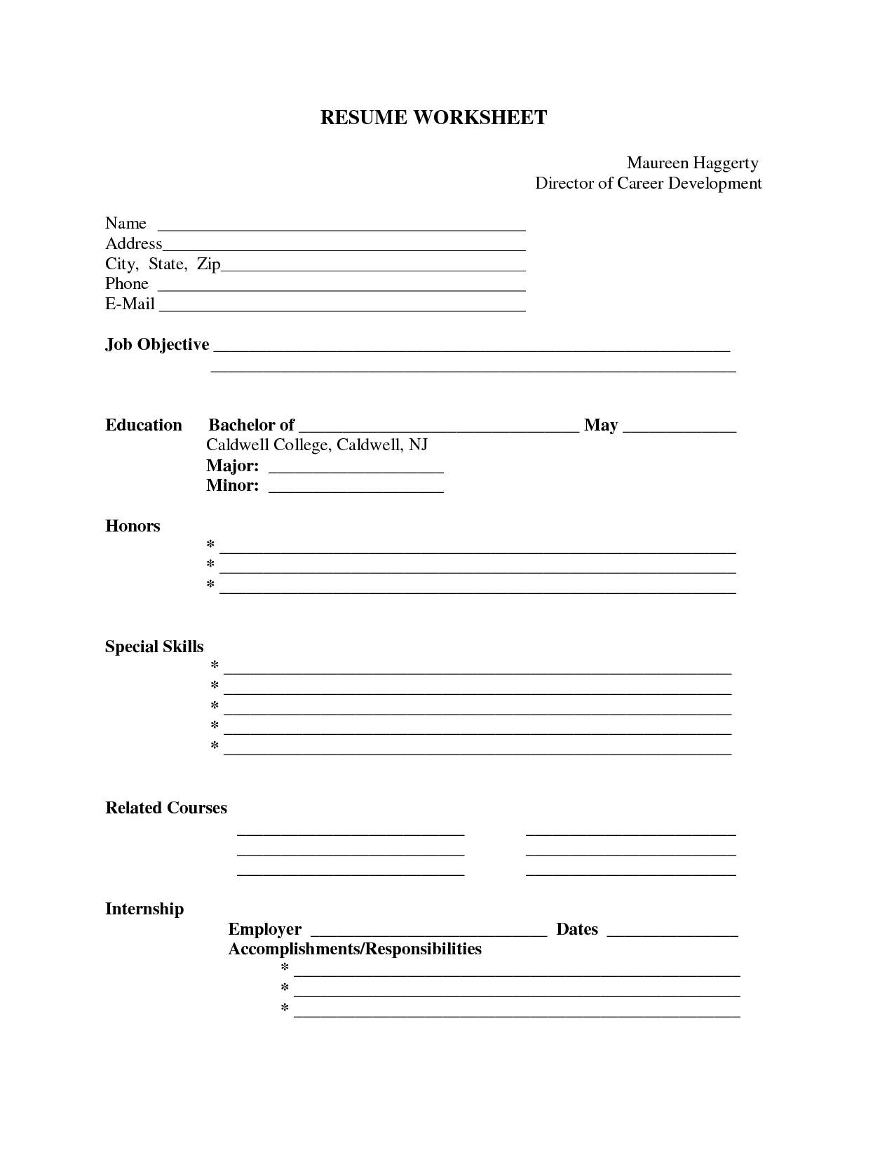 Printable Fill In The Blank Resume Templates - Tjfs-Journal - Free Printable Resume