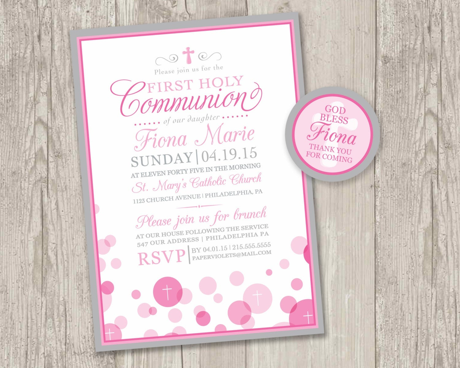 Printable : First Holy Communion Invitations & Free Matching | Etsy - First Communion Printables Free