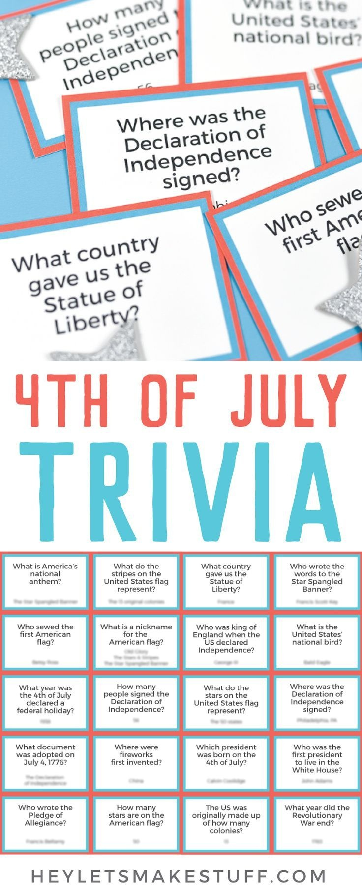 Printable Fourth Of July Trivia | 4Th Of July Party | 4. Juli - Free Printable 4Th Of July Trivia Questions And Answers