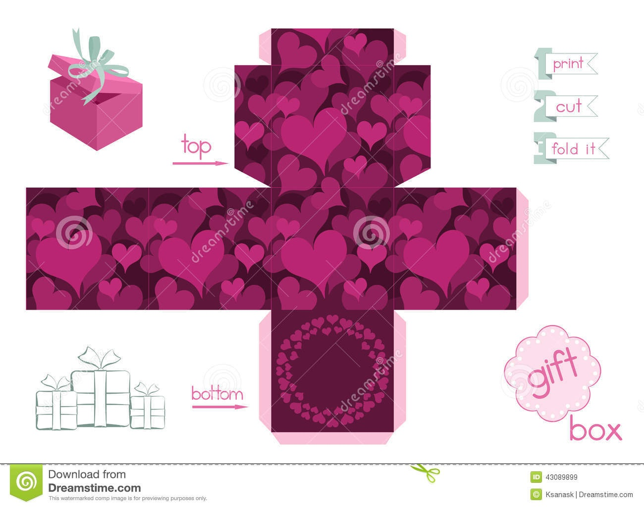 Printable Gift Box With Hearts Stock Vector - Illustration Of Heart - Gift Box Templates Free Printable
