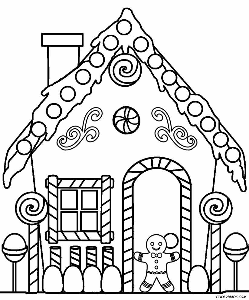 Printable Gingerbread House Coloring Pages For Kids | Cool2Bkids - Free Gingerbread House Printables