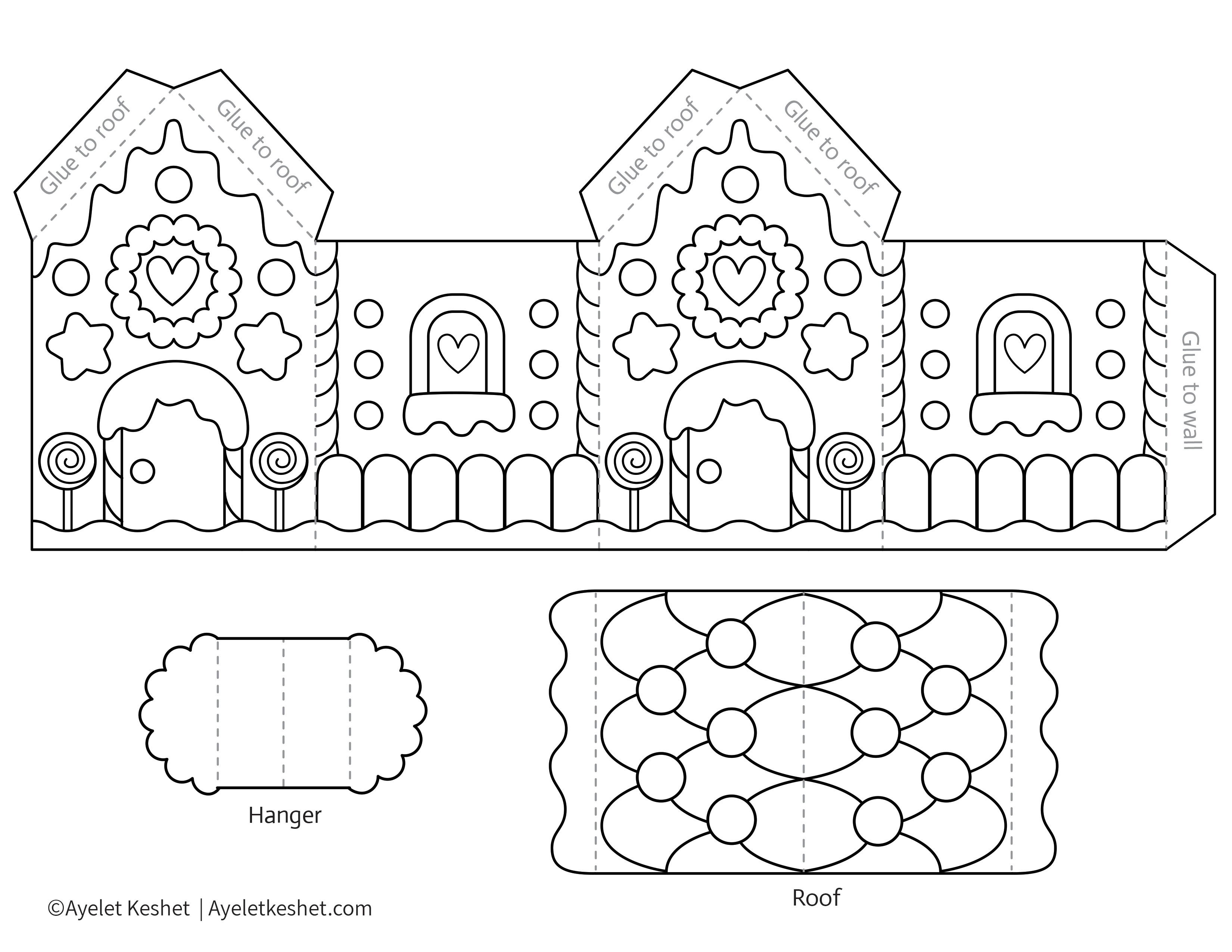 Printable Gingerbread House Template To Color - Ayelet Keshet - Free Gingerbread House Printables