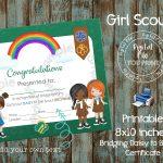 Printable Girl Scout Bridging Certificate Daisy To Brownie | Etsy   Free Bridging Certificate Printable
