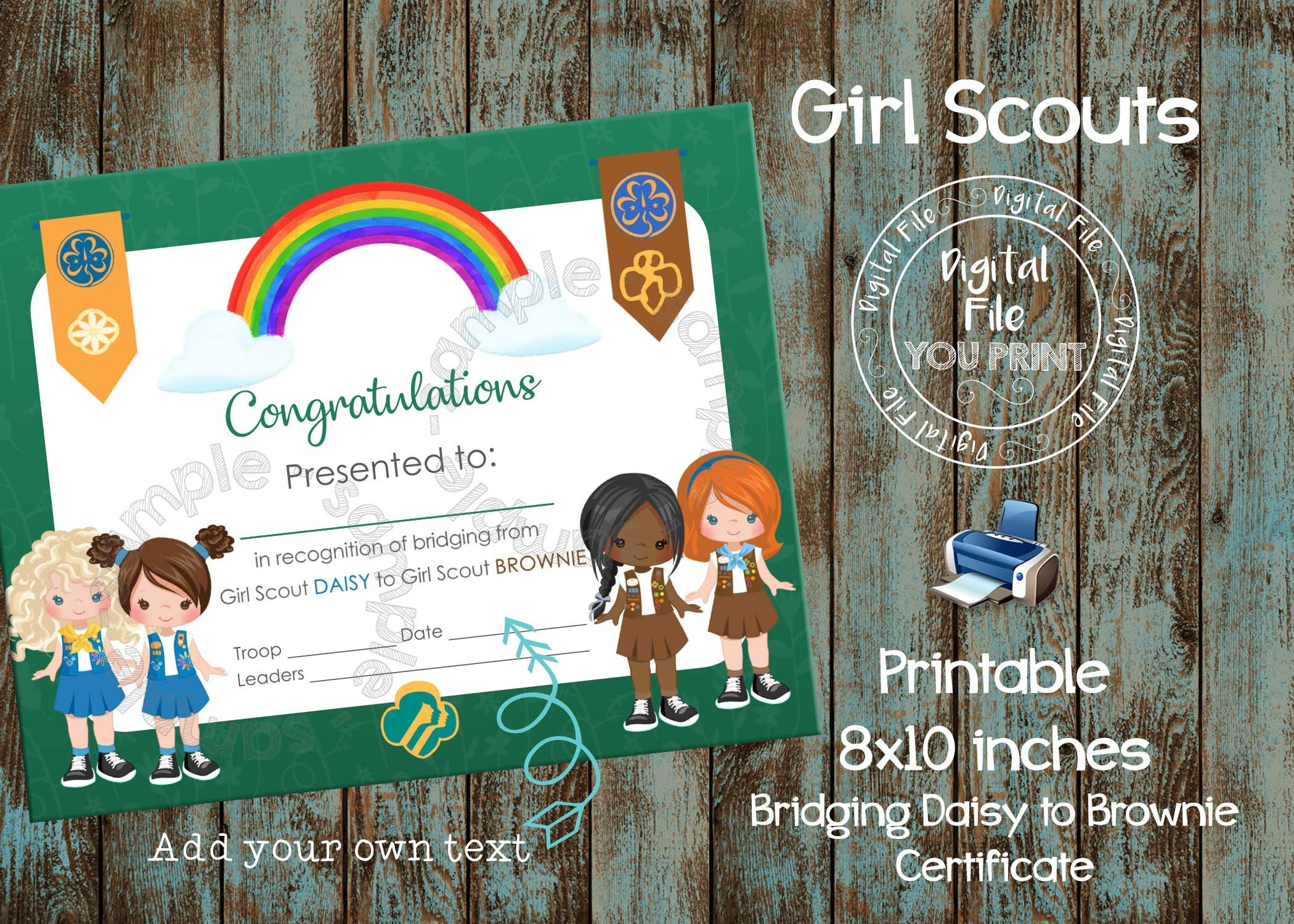 Printable Girl Scout Bridging Certificate Daisy To Brownie | Etsy - Free Bridging Certificate Printable