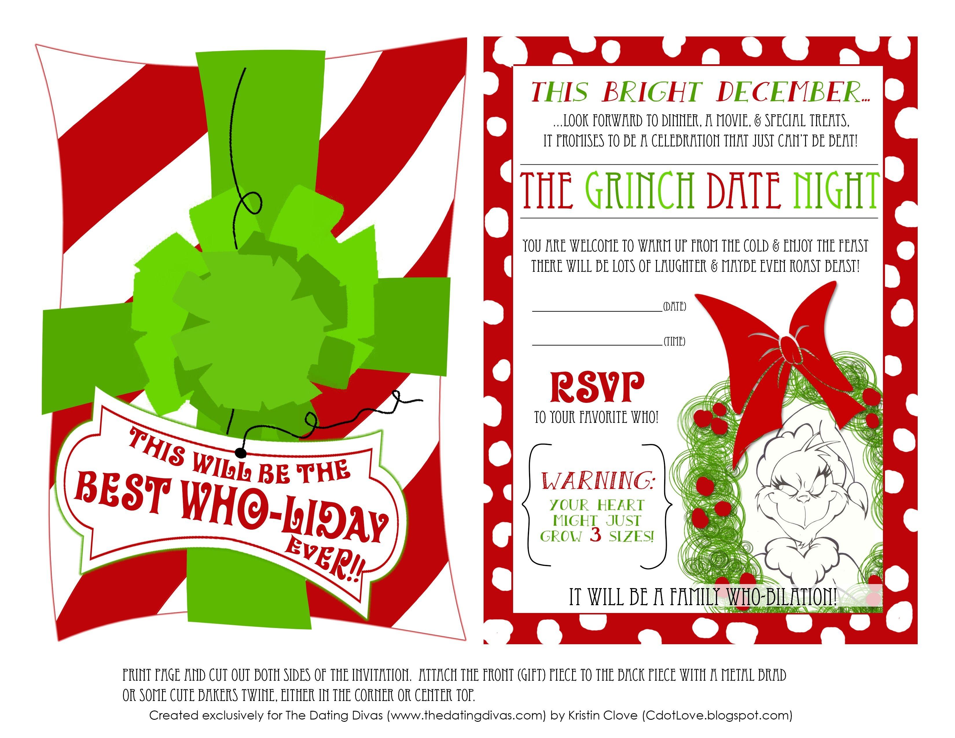 Printable Grinch Invitations | Christmas | Grinch Christmas Party - Free Grinch Printables