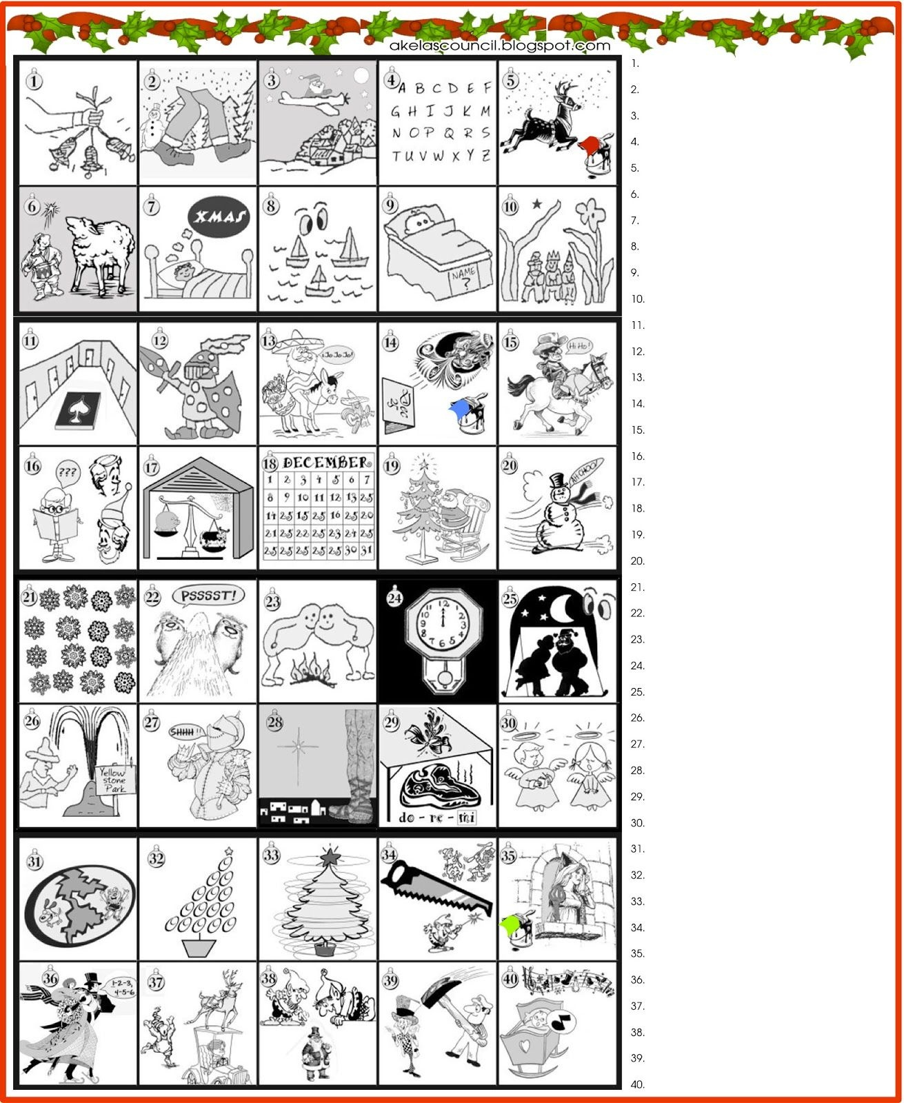 Printable * Guess The Christmas Songs Or Carols Word Puzzle - Free Printable Christmas Picture Puzzles