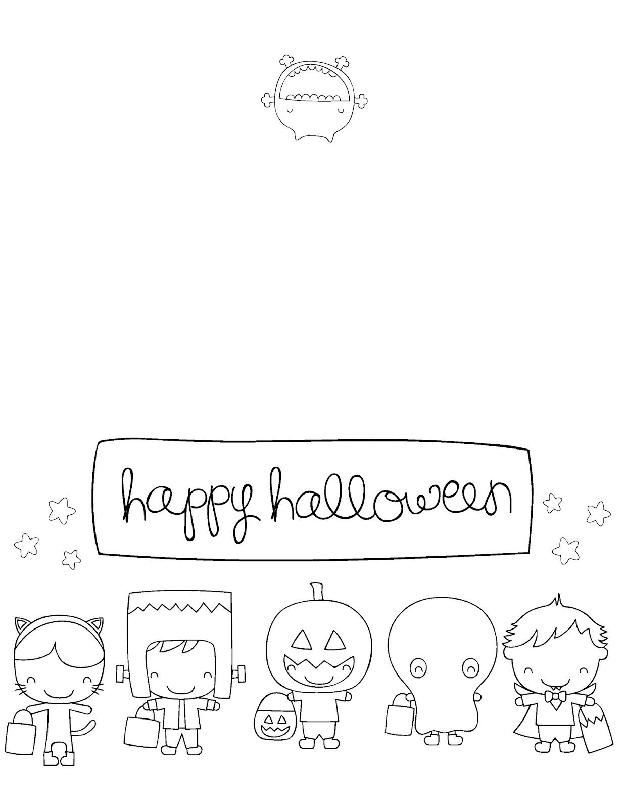 Printable Halloween Cards To Color - Acmsfsu - Printable Halloween Cards To Color For Free