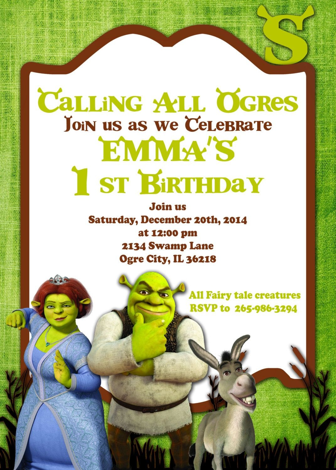 Printable Invitation Shrek Invitation Doney Inviteatomdesign - Free Printable Shrek Invitations