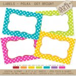 Printable Labels / Cards / Stickers: Bright Polka Dots (Journaling   Free Printable Crayon Name Tags