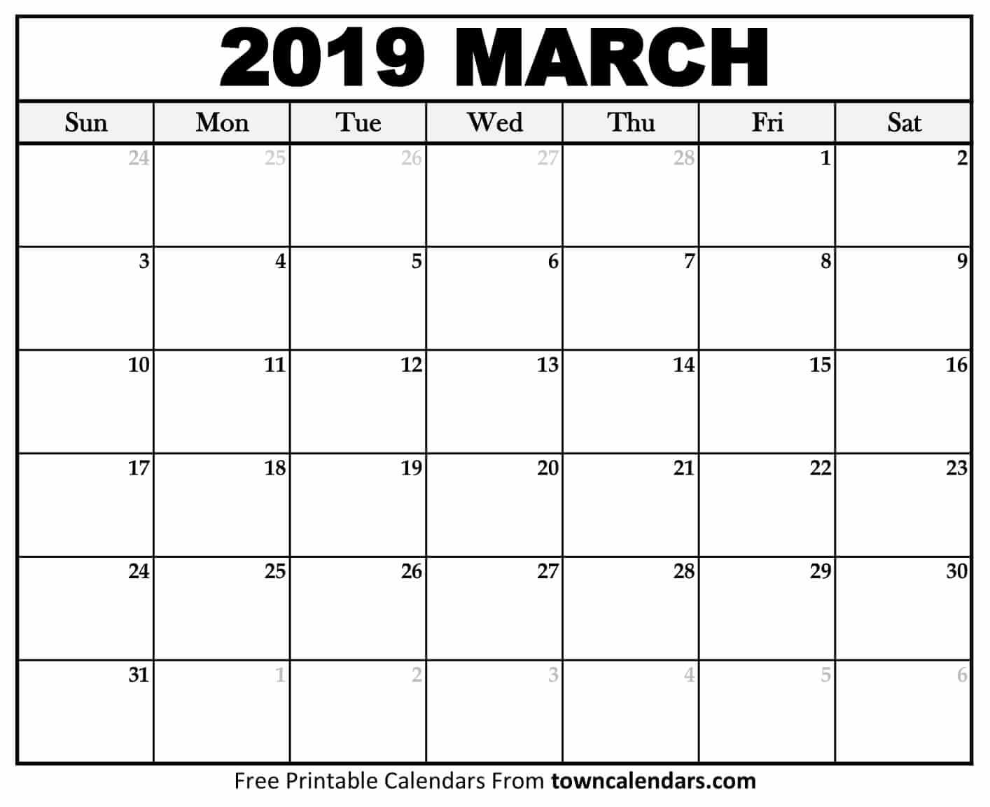 Printable March 2019 Calendar - Towncalendars - Free Printable March Activities