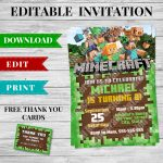 Printable Minecraft Invitation Pdf   Design 2   Minecraft Printables   Free Minecraft Printables