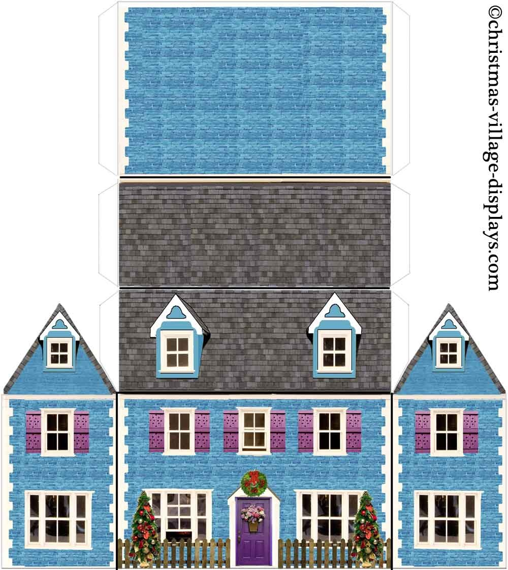 Printable Model Card Houses: Christmas Village Displays - Free Printable Model Railway Buildings