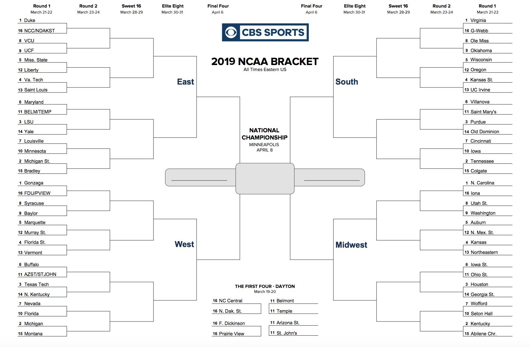 Printable Ncaa Tournament Bracket For March Madness 2019 - Free Printable March Madness Bracket