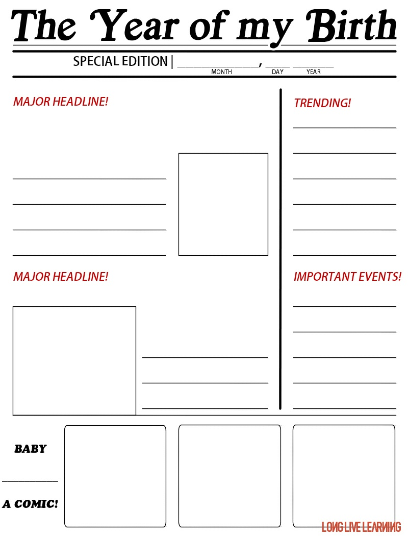 "Printable Newspaper Activity, ""The Year I Was Born"" – Happy Trails - Free Printable Newspaper Templates For Students"