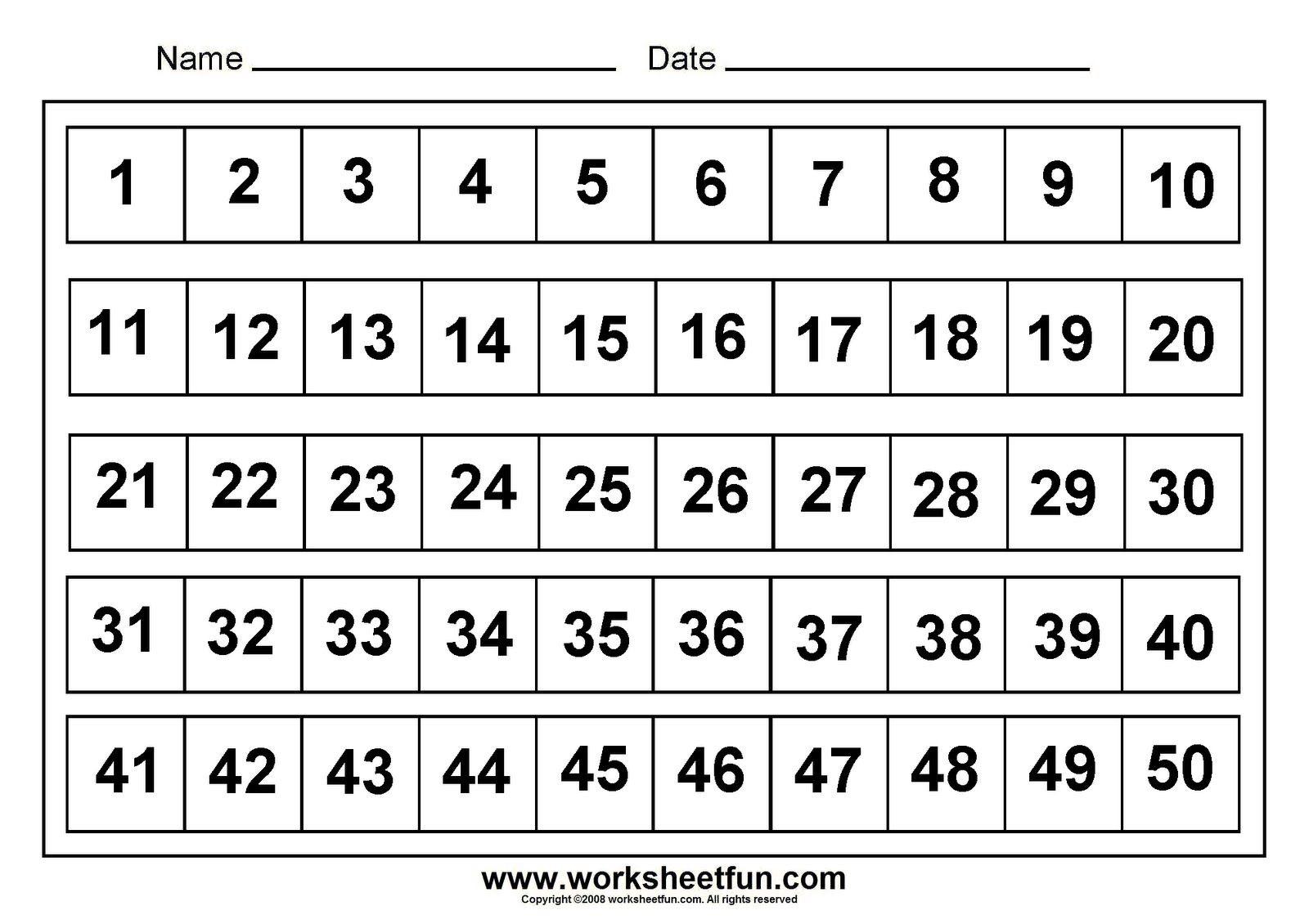 Printable Number Chart 1 50 | Munchies | Kindergarten Worksheets - Free Printable Numbers 1 50
