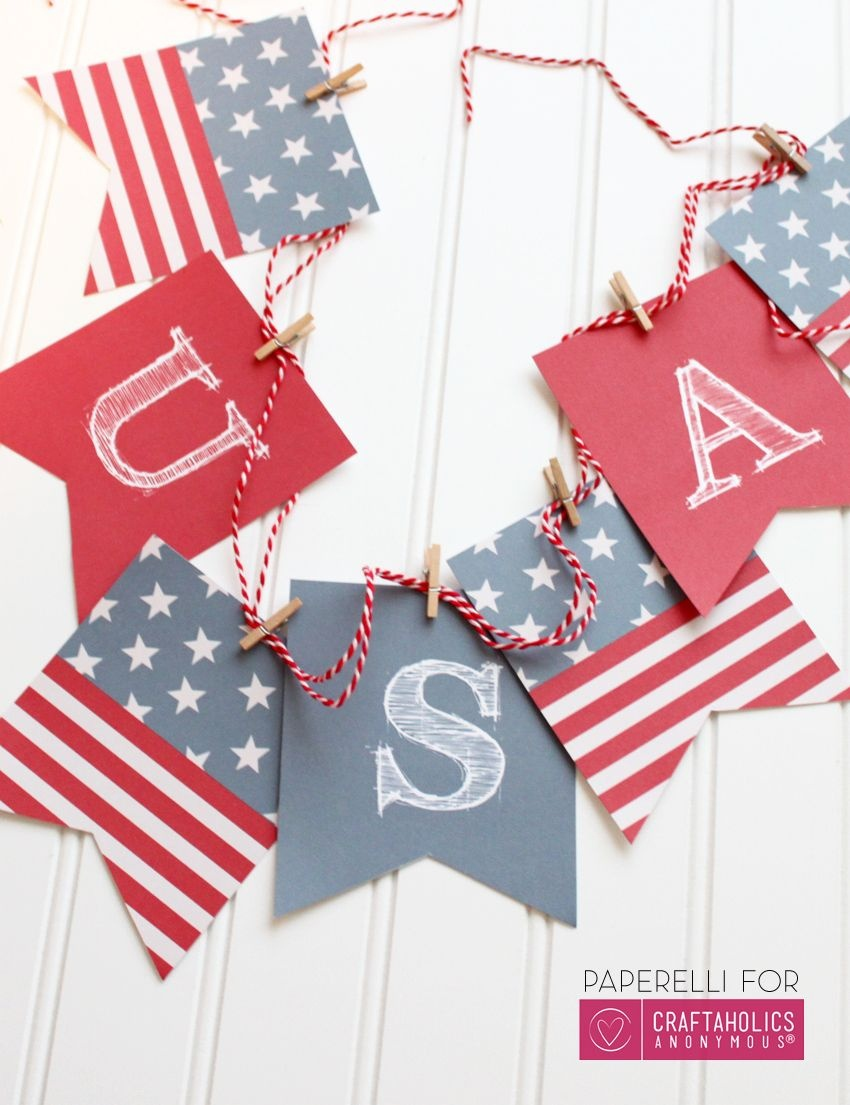 Printable Patriotic Banner | Printables | Fourth Of July Decor - Free Printable Patriotic Banner